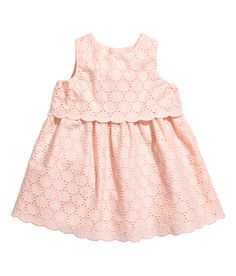 Check this out! Sleeveless dress in soft cotton eyelet embroidery. Buttons at back and flared skirt. Lined. - Visit hm.com to see more.