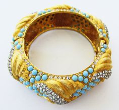 Exquisite Vintage 1960s Gold Toned Faux Turquoise by GildedTrifles