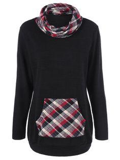 Elbow Patch Plaid Patchwork Sweatshirt in Checked | Sammydress.com