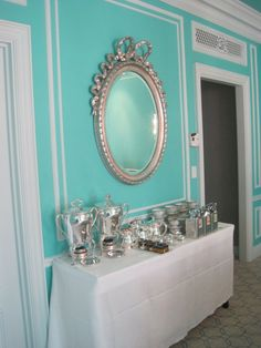 tiffany blue dining room   ... Tiffany Suite Dining Room features Tiffany china, silverware and