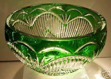 Caesar Crystal Emerald Green Bowl Bohemia Czech Cut Cased Overlay Bohemian