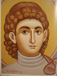 Face of Saint Procopius.  Style of Panselinos. Stage 3.