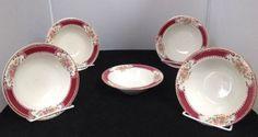 "5 Homer Laughlin Lady Alice Brittany Red 5"" Fruit/Dessert Bowls"