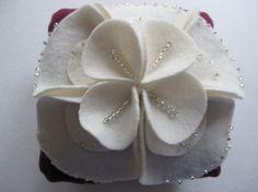 Ring Bearer Pillow Wedding Ivory Purple choose your colors #ringbearerpillow by ArtisanFeltStudio, $45.00
