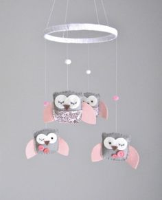 Baby Crib Mobile - Baby Mobile - Owl Mobile - Pink and Gray Baby Mobile - Mobile - You can Customize your colors :) Owl Themed Nursery, Nursery Themes, Girl Owl Nursery, Baby Crib Mobile, Baby Cribs, My Baby Girl, Baby Love, Diy Mobile, Mobiles