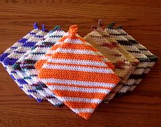 One Piece Crocheted Potholders: I have made several of these and given them as gifts. I always get a nice reaction, and seems we all need another potholder. ;)