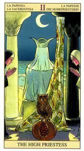 The High Priestess - Tarot of The New Vision (Gianluca Cestaro & Pietro Alligo) Tarot Card Decks, Tarot Cards, Divination Cards, Die Päpstin, Tarot Rider Waite, La Danse Macabre, Tarot Major Arcana, Tarot Readers, Oracle Cards
