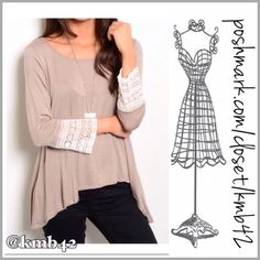 Khaki Trapeze Top & Lace Cuff Sleeves Cute khaki trapeze top with white lace detail. Made of rayon & spandex. Size S, M Threads & Trends Tops
