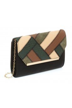 b6784630b9 Luxe Patchwork Patterned Chain Strap Clutch from Colette Hayman R349,90  Leather Products, Patchwork