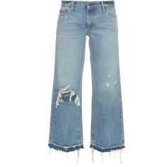 Simon Miller Yerma distressed cropped jeans (£235) ❤ liked on Polyvore featuring jeans, light blue, destroyed jeans, frayed jeans, torn jeans, ripped flare jeans and distressed jeans