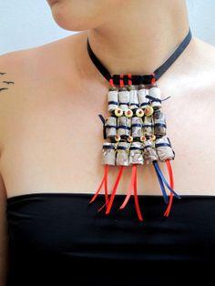 Boho chic samurai artistic wearable art fiber necklace by Gilgulim, $99.00