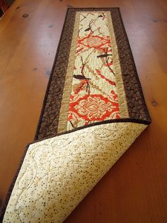"""Quilted Table Runner Birds and Branches Handmade Runner 12"""" x 50"""""""