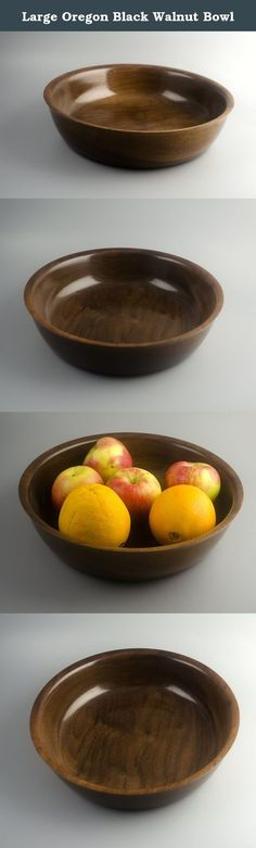"""Large Oregon Black Walnut Bowl. This gorgeous Oregon black walnut bowl is big enough to use as a fruit bowl or to display a collection of shells, twine balls, etc. It measures 11.75 inches in diameter and 2.75 inches deep. This lathe-turned bowl is finished with lacquer for a glossy finish. Food safe for """"dry"""" foods. May be wiped to clean with a damp cloth but should not be immersed in water. Ideal heirloom quality gift for weddings, fifth anniversaries, housewarmings and more!."""