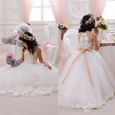 Cheap flower girl, Buy Quality flower girl dresses ivory directly from China flower girl dresses Suppliers: 2017 Beautiful Holiday Birthday Flower Girl Ivory and Beige Tulle Dresses Floral Appliqued Sash Kids Tutu Dress Sequin Flower Girl Dress, Wedding Flower Girl Dresses, Wedding Dress Styles, Wedding Party Dresses, Tulle Dress, Flower Girls, Birthday Dresses, Dress Party, Girls Formal Dresses