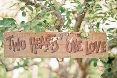 """vintage wooden wedding sign """"two hearts one love"""""""