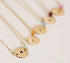 Gold Bridesmaid Necklace, Set of 5, Bridesmaid Gift, Personalized Birthstone Necklace - Crystal & Initial