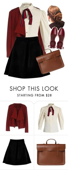 """""""Untitled #57"""" by fal-conquerry ❤ liked on Polyvore featuring Sandro Ferrone, Gucci, Boohoo, Tory Burch, vintage, blazer, Geek, maroon and victorian"""