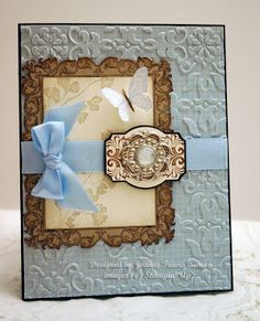 Beautiful Blue Embossed Papaya Collage Card...by Stampin' Up.