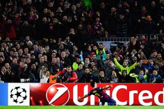 Luis Suarez of FC Barcelona celebrates after scoring his team's third goal during the UEFA Champions League group F match between FC Barcelona and Paris Saint-Germanin FC at Camp Nou Stadium on December 10, 2014 in Barcelona, Catalonia.