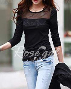 Stylish Round Collar Voile Splicing Slimming Long Sleeve Women s T-Shirt 9251960ac6b0