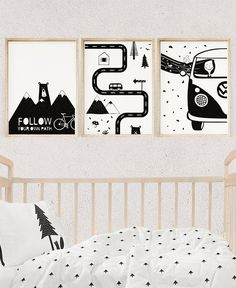 Nursery Black and White Scandinavian Wall Decor, FOREST MOUNTAIN ADVENTURE Mobile Nursery Set, Monochrome Unisex Baby Print, Kids Poster