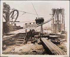 New York City ~ The Construction of the Brooklyn Bridge (ca. 1880)