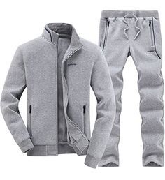 Mens Tracksuit Classic Autumn Winter Warm Up Jogging Suit Gray XL -- Awesome products selected by Anna Churchill