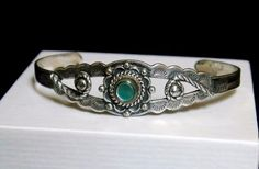 Vintage Bell Trading Fred Harvey Era Native American Silver Mother of Pearl Cuff #BellTradingPostHallmark