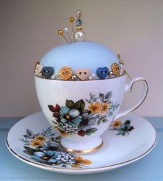Tea Cup Pin Cushion-Vintage Royal Grafton-Delicately Hand Decorated