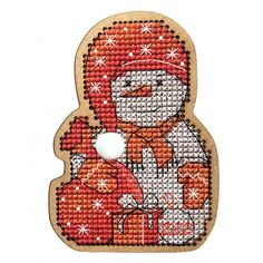 Christmas Toys. Snowman in a Cap Cross Stitch Kit