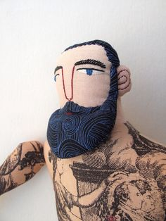 embroidered man face with beard