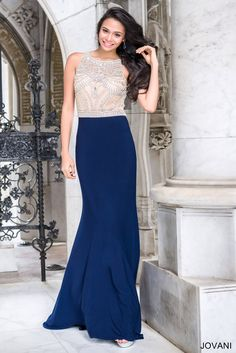 Sleeveless fitted gown with crystal embellished top and open back Also in red / nude