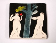 'Adam and Eve' handpainted tile by Laura Carlin