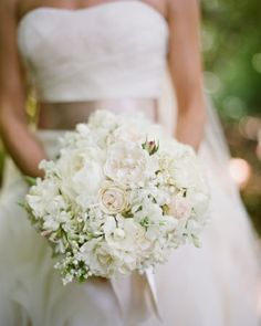 The Bouquet: garden roses in shades of cream and dusty pink, along with lily of the valley, sweet peas, and lamb's ear