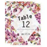 Vintage pink roses bohemian floral Table Number