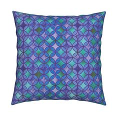 Catalan Throw Pillow featuring QUATREFOIL METALLIC GLOW BLUE EMERALD PURPLE TURQUOISE CELADON  MEDIEVAL JAPANESE SYMBOL by paysmage   Roostery Home Decor