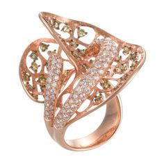 House Of Baguettes 18K Rose Gold Floral Design Ring With White and Mixed Diamonds (=)