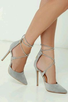 Role Grey Suede Lace-Up Heels Leading Role Grey Suede Lace-Up Heels at !Leading Role Grey Suede Lace-Up Heels at ! Schnür Heels, Lace Up Heels, Heeled Sandals, Heeled Boots, Strap Sandals, Suede Heels, Grey High Heels, Grey Pumps, Pumps