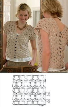 Crochet Top looks like 2 rectangles either sewed or buttoned together to join in the center. T-shirt Au Crochet, Cardigan Au Crochet, Pull Crochet, Gilet Crochet, Mode Crochet, Crochet Shirt, Crochet Jacket, Crochet Diagram, Crochet Woman