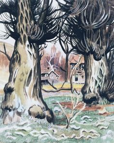 Between Two Willows Charles Burchfield 1918 Private collection Painting - watercolor Height: cm in.) Tagged Burchfield two ferns Landscape Art, Landscape Paintings, Great Paintings, Famous Art, Nature Images, Figure Painting, American Artists, Art Day, Canvas Art Prints