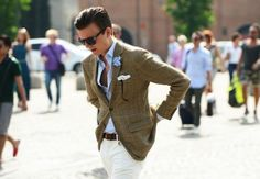 White pants + brown blazer peacocking