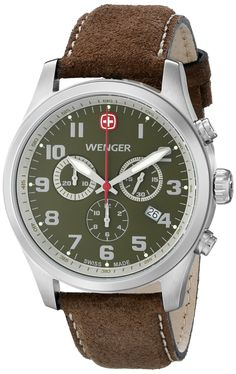 Wenger Men's 71001 Amazon-Exclusive Stainless Steel Watch with Brown Leather Band