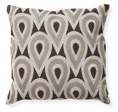 What a fun print to add some texture to a solid sofa and/or chair! Pair of gumdrop throw pillows in brown and neutrals, 18 x 18. 100% linen print and embroidered front.
