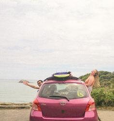 Pink car friends beach cliff surf new zealand : ) Pinterest Girls, Surf Trip, Summer Dream, Dark Places, Passed Away, Mental Illness, Take My, New Zealand, Surfing
