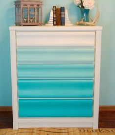 Turquoise Ombre drawers #painted dresser #painted furniture