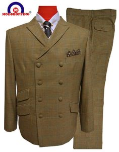 Bespoke Mod Suit has brought this Double Breasted Brown Mod Suit to remind us the Men's Mod Fashion. Get the bespoke style of Mod Fashion and Be a mod today. Mod Jacket, Suit Jacket, 60s Mod Fashion, Fashion Illustration Collage, Mod Suits, Fashion Design Template, Checked Suit, Harrington Jacket, Suit Fabric