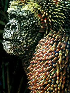 Pencil sculpture:  I always wondered what to do with my pencils ends! I would love to do this one day.