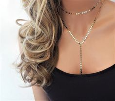 Lariat Necklace  Layered Coin Lariat  Y Necklace  Shimmer