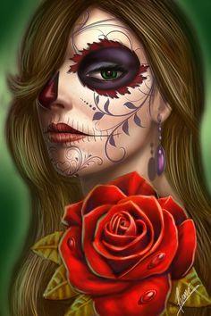 Beautiful sugar skull art. Rosaby ~kamiartist