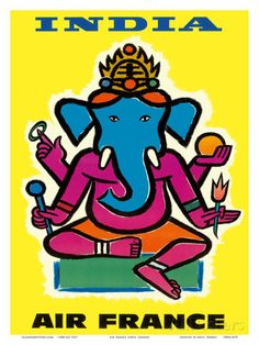 Air France - India - Hindu Lord Ganesha (Ganesh) Art Print
